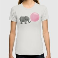 Jumbo Bubble Gum  Womens Fitted Tee Silver MEDIUM