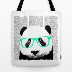 Panda with teal glasses Tote Bag