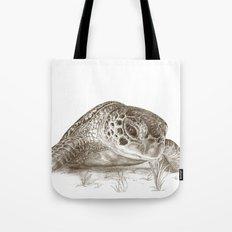 A Green Sea Turtle :: Earthtones Tote Bag