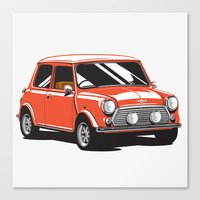 Mini Cooper Car - Red Canvas Print