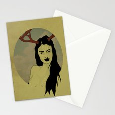 Girl With Antlers Stationery Cards