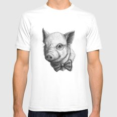BowTie Piglet G136 Mens Fitted Tee White SMALL