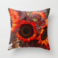 Sunflower Fire Throw Pillow