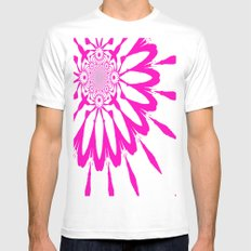 White & Magenta Pink Modern Flower Mens Fitted Tee SMALL White