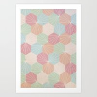 pastel Art Prints featuring Pastel by According to Panda