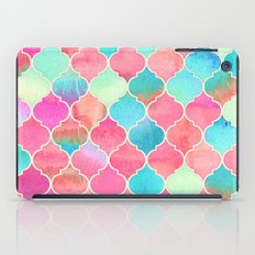 Watercolor Moroccan Patchwork in Magenta, Peach & Aqua iPad Case