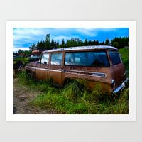 Old car resting in a field Art Print