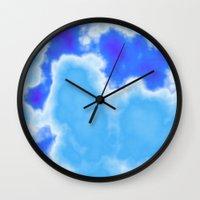 powder blue and indigo sky Wall Clock