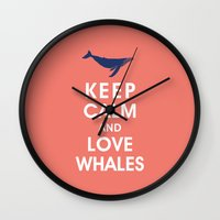 Keep Calm and Love Whales Wall Clock