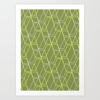GRID-GREEN Art Print