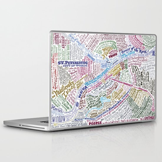 St. Petersburg Literary Map Laptop & iPad Skin