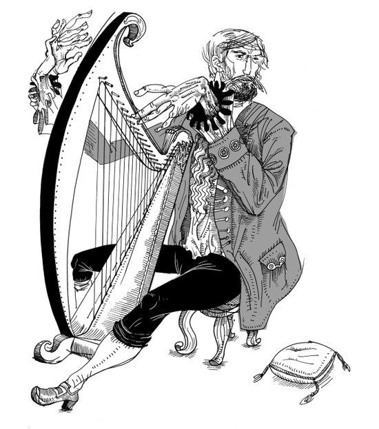 Ye Olde Harp Player Art Print