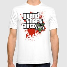 Grand Theft Auto 5 Mens Fitted Tee White SMALL