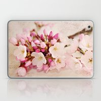 cherry blossoms with typography Laptop & iPad Skin