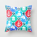 Marine Animals Geometric Pattern Throw Pillow
