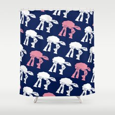 Navy White and Pink AT-AT's Shower Curtain