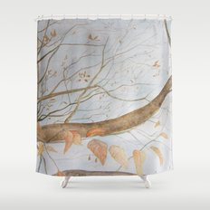 Watercolor under the trees Shower Curtain