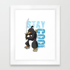 Stay Cool Samurai Penguin Framed Art Print