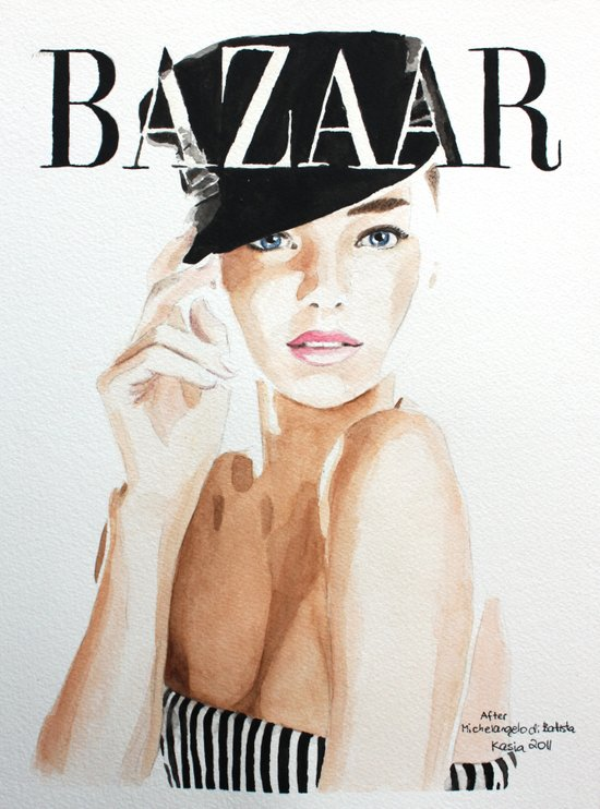 Harper's Bazaar Magazine Cover. Miranda Kerr. Fashion Illustration Art Print