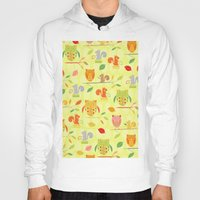 Owls And Squirrels Print Hoody