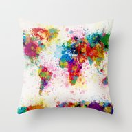 Map Of The World Map Pai… Throw Pillow