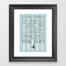 Labyrinth Jareth Movie Quote Framed Art Print