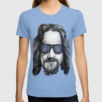 The Dude Lebowski Womens Fitted Tee Tri-Blue SMALL