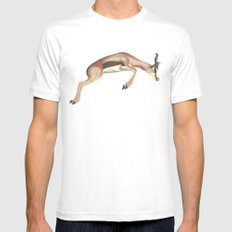 leaping gazelle SMALL White Mens Fitted Tee