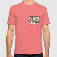 Fuck Life Mens Fitted Tee Pomegranate SMALL