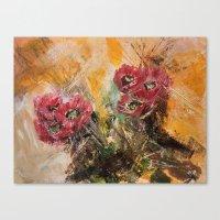 Pink Cactus Flowers Canvas Print