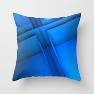 Clean Lines (Blue) Throw Pillow