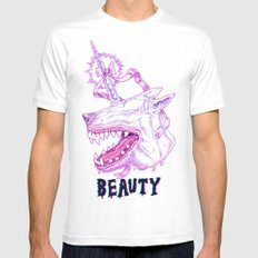 Cannibal Unicorn Theory Mens Fitted Tee White SMALL