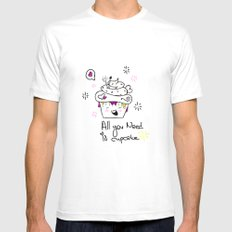 Happy Cupcake Mens Fitted Tee SMALL White