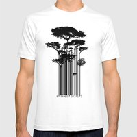Barcode Trees illustration  Mens Fitted Tee White SMALL