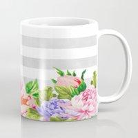FLORAL GRAY STRIPES Mug