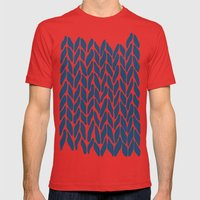 Hand Knitted Navy Mens Fitted Tee Red SMALL