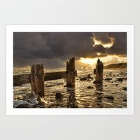 Old Groyne Sunset Art Print