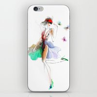 the girl with butterflies iPhone & iPod Skin