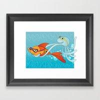 Goldfish & Octopus Framed Art Print