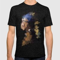 Panelscape Iconic  - Girl with a Pearl Earring Mens Fitted Tee Tri-Black SMALL