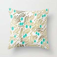 Gold & Turquoise Olive B… Throw Pillow