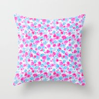 Floret Pink Aqua Ditsy Throw Pillow