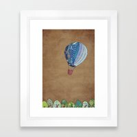 Blue hot air balloon Framed Art Print