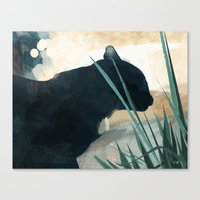 Skelly Cat In The Grass Canvas Print