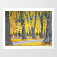 Golden park Art Print