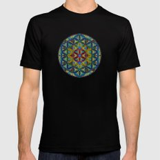 The Flower of Life (Sacred Geometry) Mens Fitted Tee Black SMALL