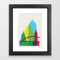 Shapes of Austin. Accurate to scale. Framed Art Print