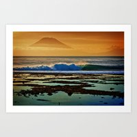 Indonesian Wave and Volcano Art Print