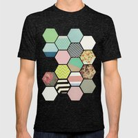 Florals And Stripes Mens Fitted Tee Tri-Black SMALL