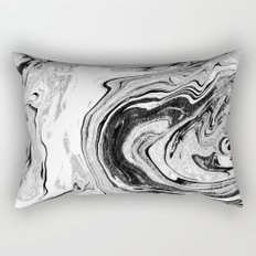 Masuki - black and white minimal spilled ink marbled paper marble texture marbling marble painting Rectangular Pillow